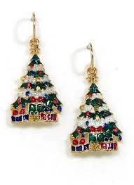 christmas earrings christmas tree earrings snowy christmas tree earrings