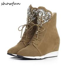 s boots wedge s wedge pointed toe lace up leisure high top ankle boots