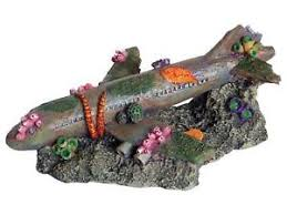sunken airliner aquarium ornament plane fish tank aeroplane wreckage