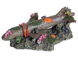 sunken airliner aquarium ornament plane fish tank aeroplane wreckage
