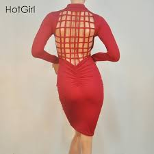 vestidos club stretch laced back cage winter party dresses