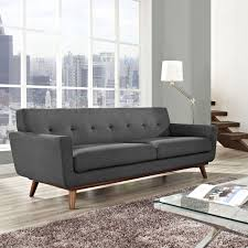 Grey Linen Sofa by Modway Engage Upholstered Tufted Sofa Multiple Colors Walmart Com