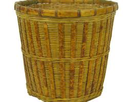 Yellow Wastebasket Wicker Waste Basket Etsy