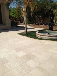 Paver Patios Installed In The 16x16 Classic Vein Cut Marble Limestone Pavers Installed In This