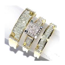 gold wedding set yellow gold trio wedding set mens women rings real 0 5ct diamonds