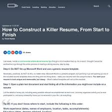 Killer Resume Template How To Construct A Killer Resume From Start To Finish Pearltrees