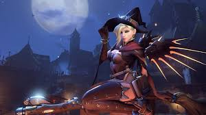 halloween background 1080p witch mercy halloween wallpaper 1920x1080 overwatch