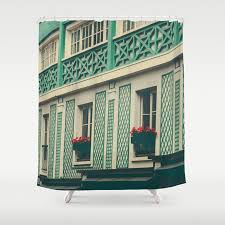 Paris Fabric Shower Curtain by Paris In Green Fabric Shower Curtain By Ruby And B