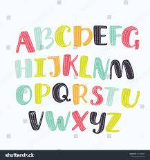 vector cartoon alphabet white background upper stock vector