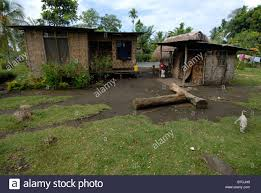 village with simple houses on karkar island png stock photo