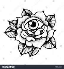 new school tattoo drawings black and white old school rose tattoo with eye traditional black dot style ink