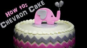 chevron baby shower cake with elephant topper youtube
