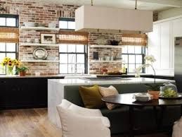 Brick Accent Wall by Interior Designs For Kitchens Kitchen With Exposed Brick Wall