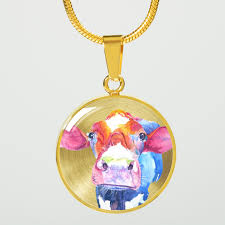 gold images necklace images Colorful cow 18k gold pendant necklace barnyard bliss png