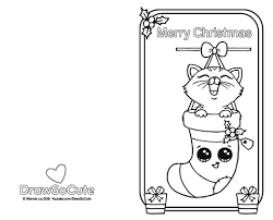 kitten coloring pages to print christmas kitten christmas card u2013 draw so cute
