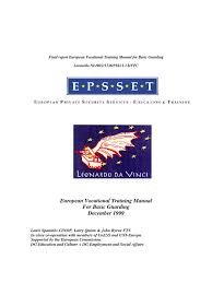 european training manual for basic guarding december 1999 pdf