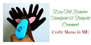 easy felt reindeer handprint and footprint ornament crafty in me