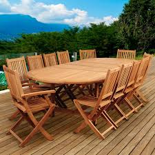 amazonia highland park 12 person teak patio dining set with