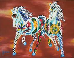 horse art print talavera horses mexican day of the