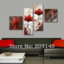 decorative artwork for homes oil painting canvas red flower abstract decorative artwork quality