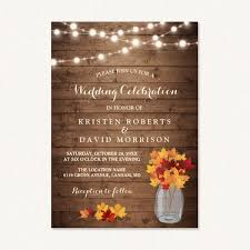 rustic fall wedding invitations autumn leaves trees wood florals