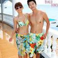 หมด] SWC-2501 บิกินี่ ชุดว่ายน้ำคู่รักแฟชั่นสไตล์เกาหลี ลายพฤกษา ...