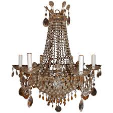 Crystal Drops For Chandeliers Italian Chandelier With Clear And Amber Crystal Drops And Beads
