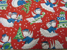 unused vtg 1960s gift wrapping paper teal u0026 red angels 1 sheet