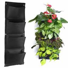 4 pocket wall mounted hanging planter indoor outdoor plant bag