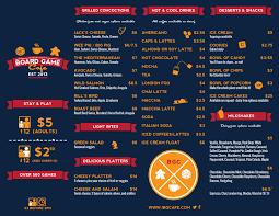 interactivity board game cafe menu