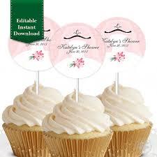 custom cupcake toppers editable instant bridal shower wedding shower cupcake