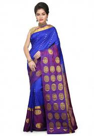 Buy Royal Blue Pure Silk Kanchipuram Saree In Royal Blue Sgka3005