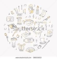 hand drawn doodle theatre set vector stock vector 425402521