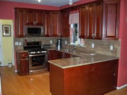 Red Lacquer Kitchen Cabinets Witching Brown Wooden High End Kitchen Cabinets Features Double