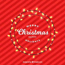 red background with nice christmas lights vector free download