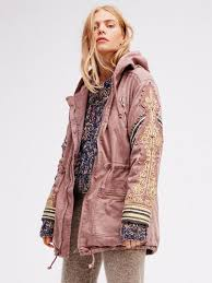 Free People Parka Free People Golden Quills Military Parka Dusty Mauve Jacket