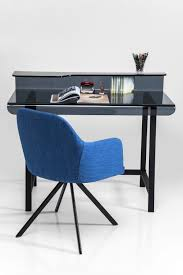 blue writing desk rectangular glass writing desk visible grey by kare design