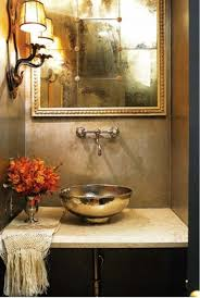 Powder Room Makeover Ideas Dark Brown Finish Rectangle Wooden Table Small Powder Room Designs