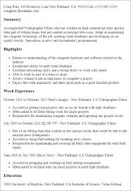Resume Templates And Examples by Professional Videographer Editor Templates To Showcase Your Talent