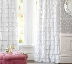 Ruffled Pink Curtains Ruffle Blackout Panel Pottery Barn