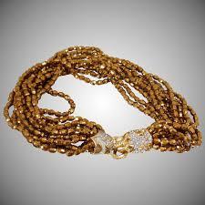 art glass necklace images Vintage rare donald stannard lion art glass necklace nine strand jpg