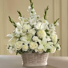 white flower arrangements my peaceful garden funeral flower arrangement flowers from the heart