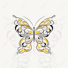 vintage pattern in a shape of a butterfly with shadow isolated on