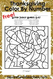 thanksgiving color by number printables arts