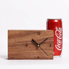 rectangle table top wooden clock for office workstation slc3p01