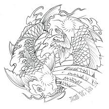 coloring pages yin yang commission by japanese koi fish