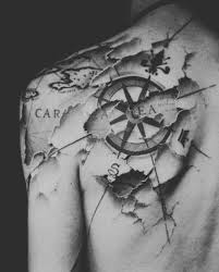 shoulder tattoo map with compass ideas tattoo designs