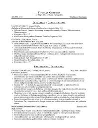 internship resume example sample