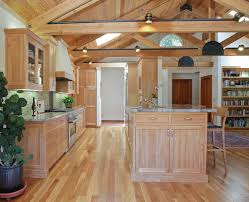 natural oak cabinets kitchen contemporary with range in island