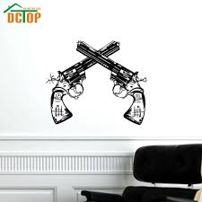 online get cheap twin wall decals aliexpress com alibaba group twin pistols wall sticker boys room self adhesive vinyl waterproof printed wall decal guns home decor